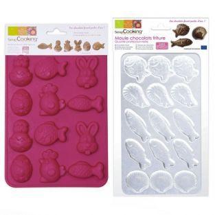 Moldes de chocolates x 2 - Pascua, pescados, gambas, vieiras