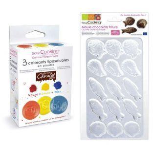 Caja de chocolates de Pascua coloridos - pescados, gambas, vieiras