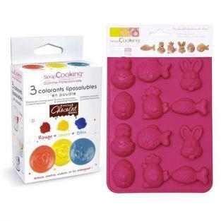 Coffret chocolats de Pâques colorés