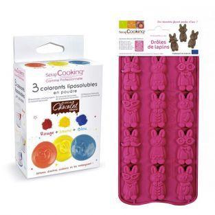 Coffret chocolats colorés - drôles de lapins