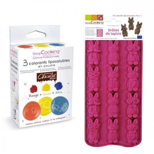 Colored chocolate box - funny rabbits
