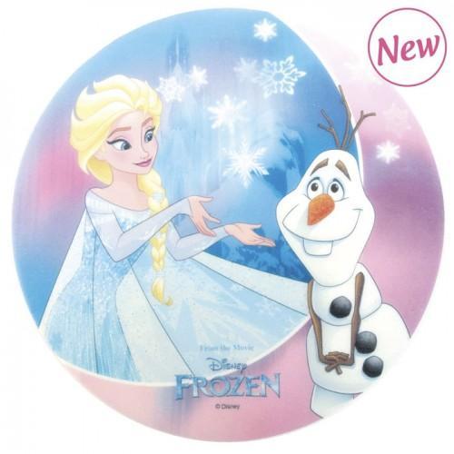 Disque azyme alimentaire Reine des neiges - Elsa & Olaff