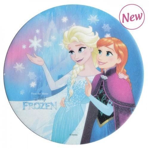 Edible wafer disk - Frozen - Elsa & Anna waving
