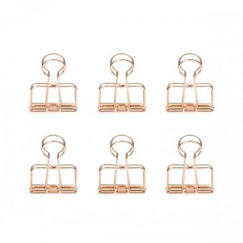 Double clamp clips x 6 - copper