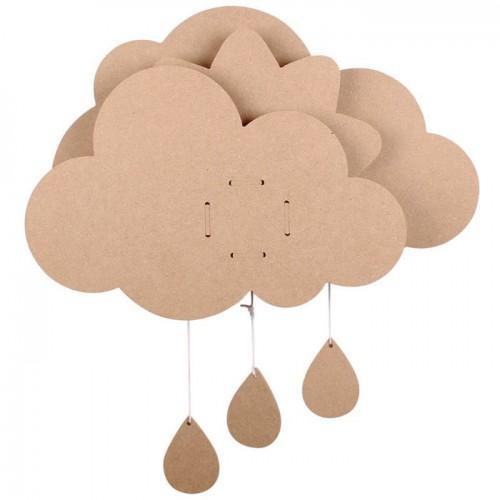 Mobile nuage pour bébé et boîte à musique - 39 x 50 cm