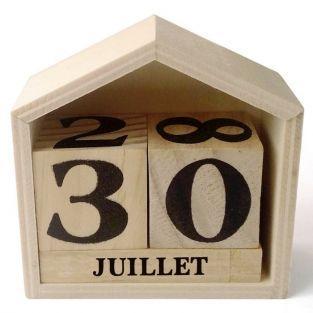 Calendario perpetuo casa de madera - 7.3 x 8 x 3,4 cm