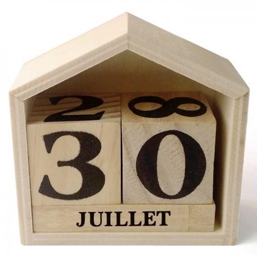 Calendrier perpétuel en bois maisonnette - 7,3 x 8 x 3,4 cm