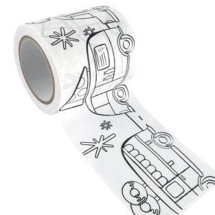 Masking tape large à colorier - Camionnettes 4,6 cm x 5 m