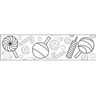 Masking tape large à colorier - Sucreries 4,6 cm x 5 m