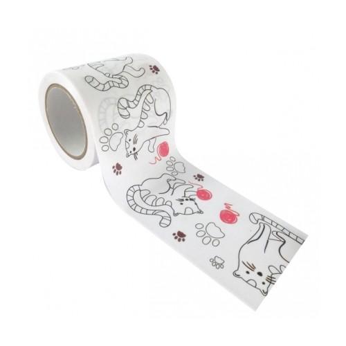 Masking tape large à colorier - Chats 4,6 cm x 5 m