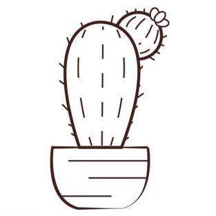 Tampon en bois - Cactus 6,2 x 4,4 cm