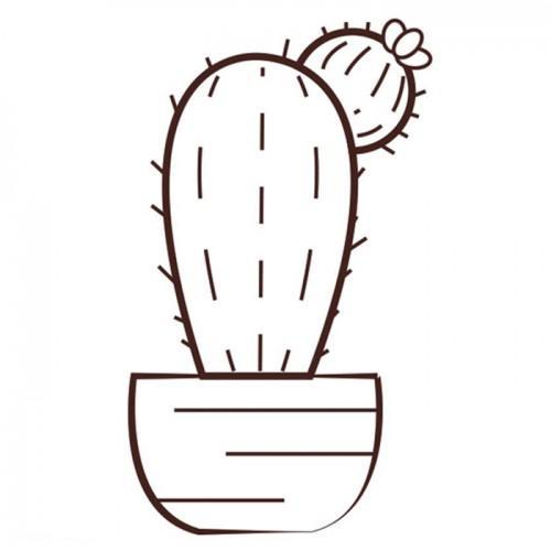 Wooden stamp - Cactus 6.2 x 4.4 cm