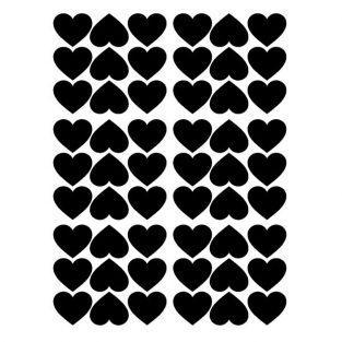 Pegatinas reposicionables corazones x 54 - negro