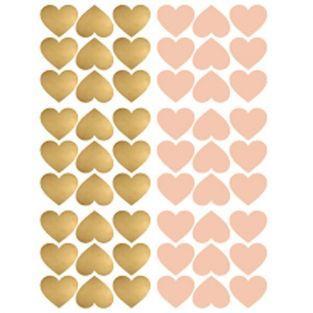 Pegatinas reposicionables corazones x 54 - rosa y oro
