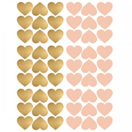 Stickers cœurs repositionnables x 54 - Rose et doré