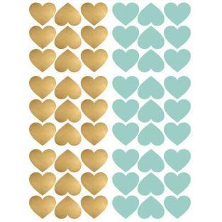 Stickers cœurs repositionnables x 54 - Bleu et doré