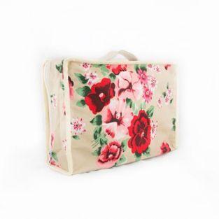 Valisette en coton 22 x 31 x 10 cm - Fleurs rouges et rose