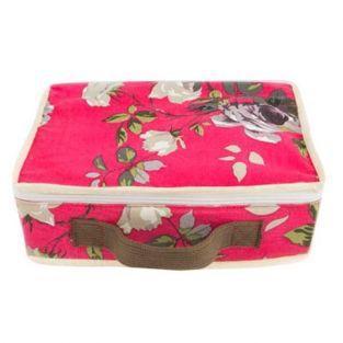 Cotton suitcase 22 x 31 x 10 cm - Fuchsia flowers