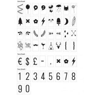 Chiffres & symboles pour boîte lumineuse