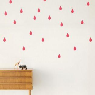 Stickers gouttes rose x 44