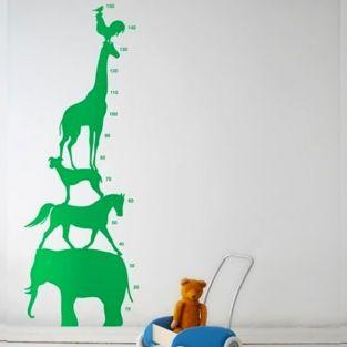 Wall sticker Height Chart - Green animals