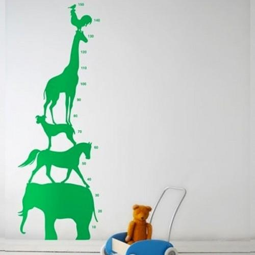 Toise autocollante animaux - Vert