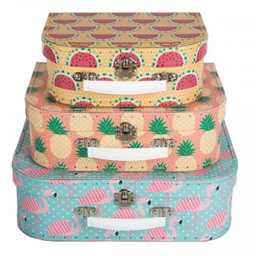 Children's cardboard suitcases x 3 - Tropical