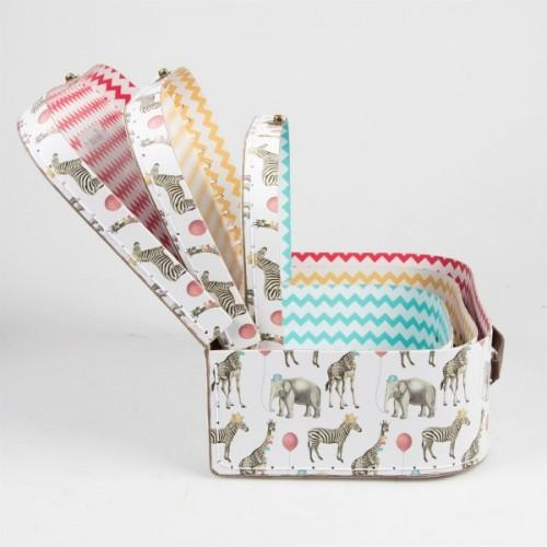 Children's cardboard suitcases x 3 - Safari