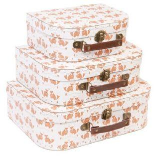 Children's cardboard suitcases x 3 - Foxes
