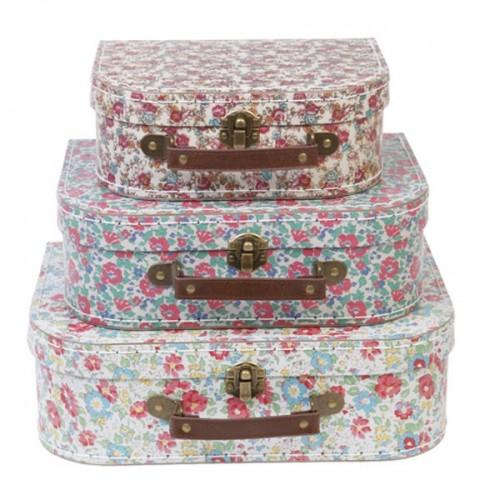 Children's cardboard suitcases x 3 - Flowers