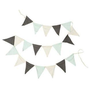 Garland 12 pennants 1.50 m - off-white, light green, gray