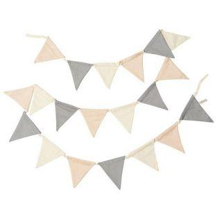 Garland 12 pennants 3 m - pink, cream, gray
