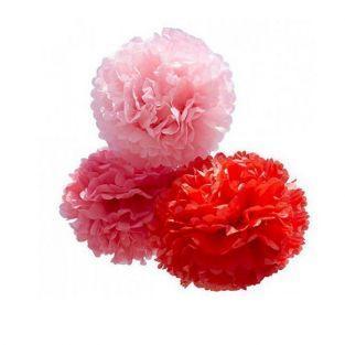 Fleurs en papier à suspendre x 3 - rouge - moyen format