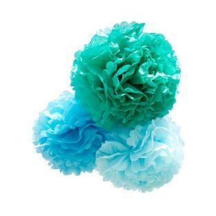 Fleurs en papier à suspendre x 3 - bleu - grand format