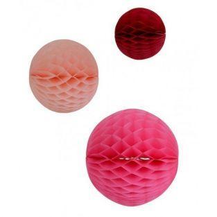 Honeycomb balls x 3 - pink