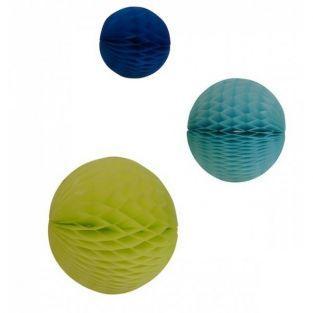 Esferas de papel x 3 - amarillo y azul