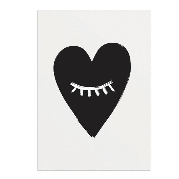 affiche noir et blanc c ur a3 d coration youdoit. Black Bedroom Furniture Sets. Home Design Ideas