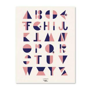 Cartel alfabeto de estilo cubista - Rosa