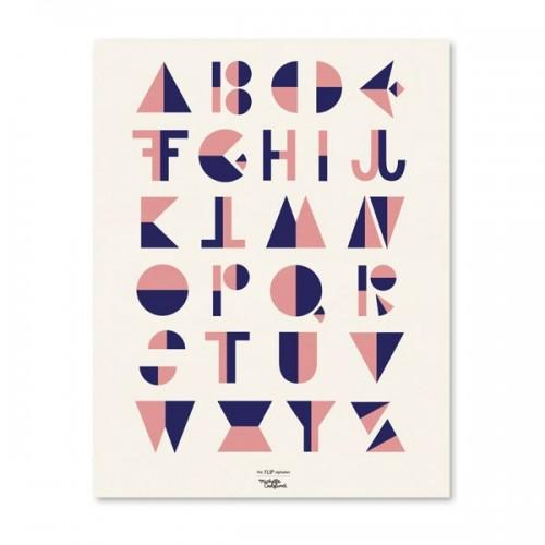 Alphabet Poster - Cubist style - Pink