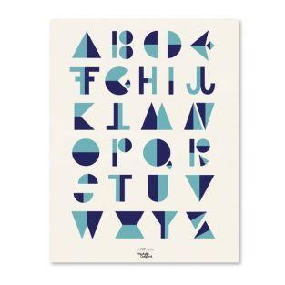 Alphabet Poster - Cubist style - Blue