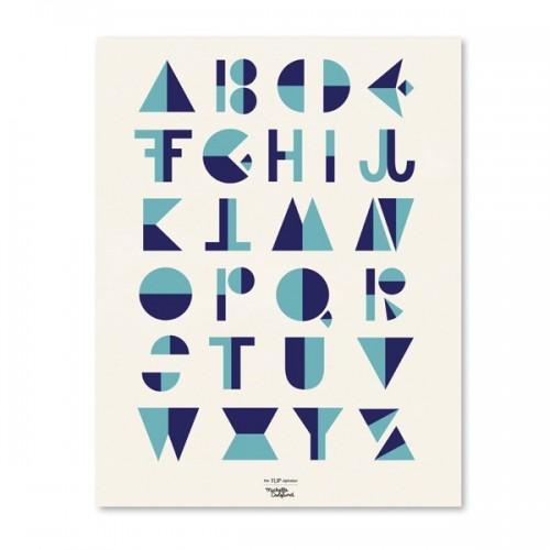 Affiche alphabet style cubiste - Bleu