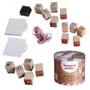 Mini sellos de madera x 3 - Huerta