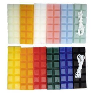Cire à bougie 12 couleurs 480 g + 2 mèches - Eté