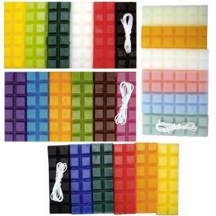 Cire à bougie 24 couleurs 960 g + 4 mèches x 1 m