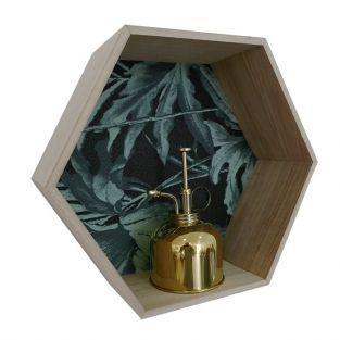 Estante de madera hexagonal de 30 x 26 x 10 cm
