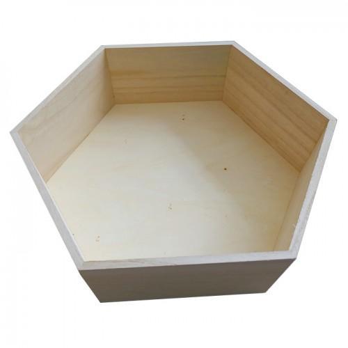 Estante de madera hexagonal de 36 x 31 x 10 cm