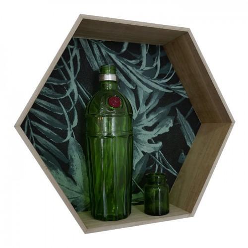 Hexagon wood shelf 39 x 34 x 10 cm