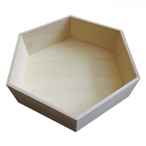Estante de madera hexagonal de 39 x 34 x 10 cm
