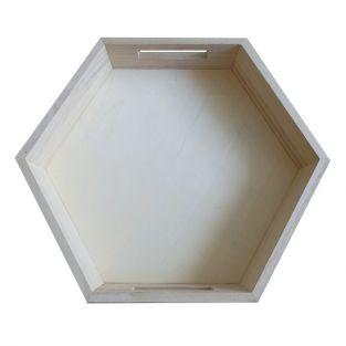 Hexagonal wooden tray 35 x 30 x 6 cm