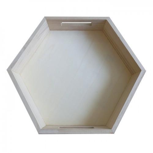 Hexagonal wooden tray 35 x 30 x 6 cm